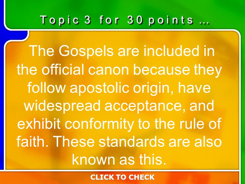 3:303:30 The Gospels are included in the official canon because they follow apostolic origin, have widespread acceptance, and exhibit conformity to th