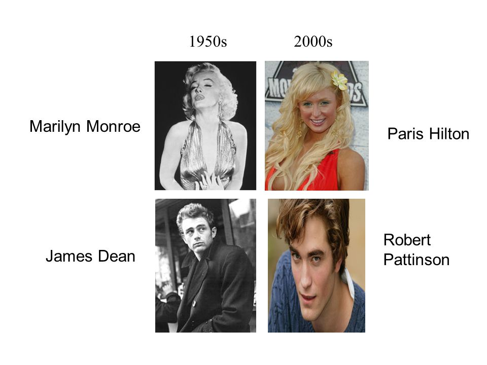 1950s2000s Paris Hilton Robert Pattinson Marilyn Monroe James Dean