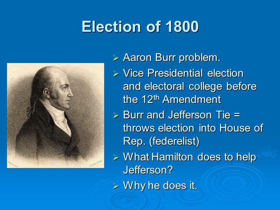 Revolution of 1800  Election of 1800 arguably the most significant in US History. Why? Why?