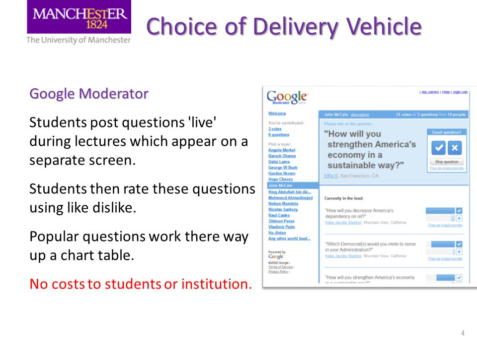 4 Choice of Delivery Vehicle Google Moderator Students post questions 'live' during lectures which appear on a separate screen. Students then rate the