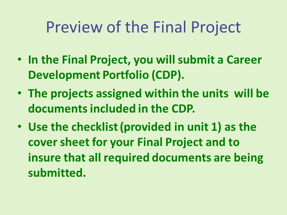 Projects and Project Rubrics There are 4 projects and the Final Project.