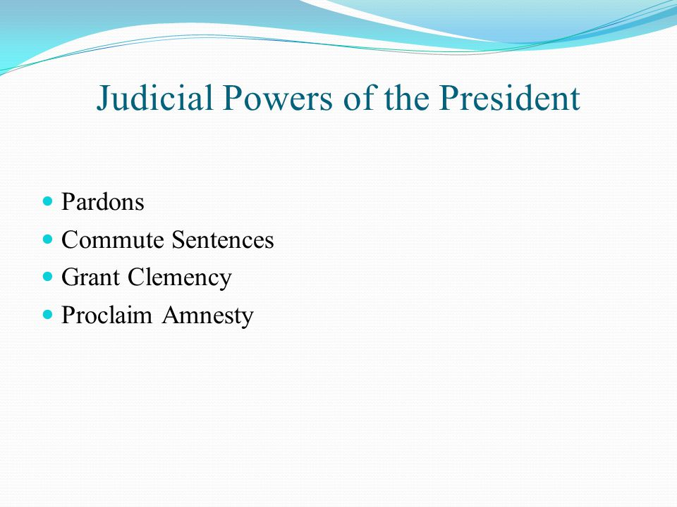 Judicial Powers of the President Pardons Commute Sentences Grant Clemency Proclaim Amnesty