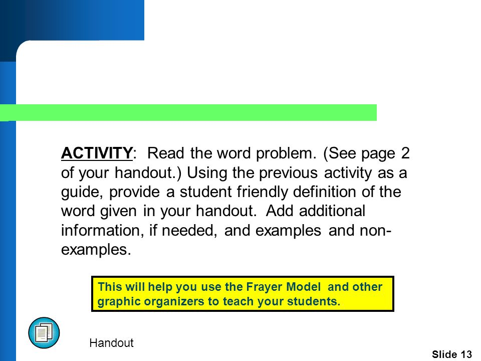 Slide 13 ACTIVITY: Read the word problem.