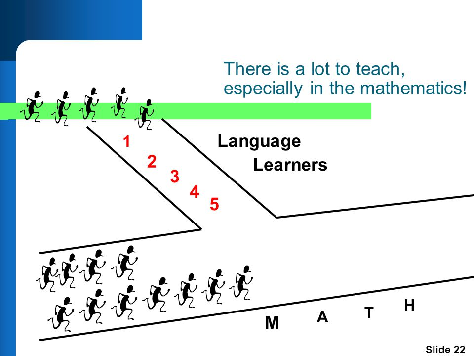 Slide 22 There is a lot to teach, especially in the mathematics.
