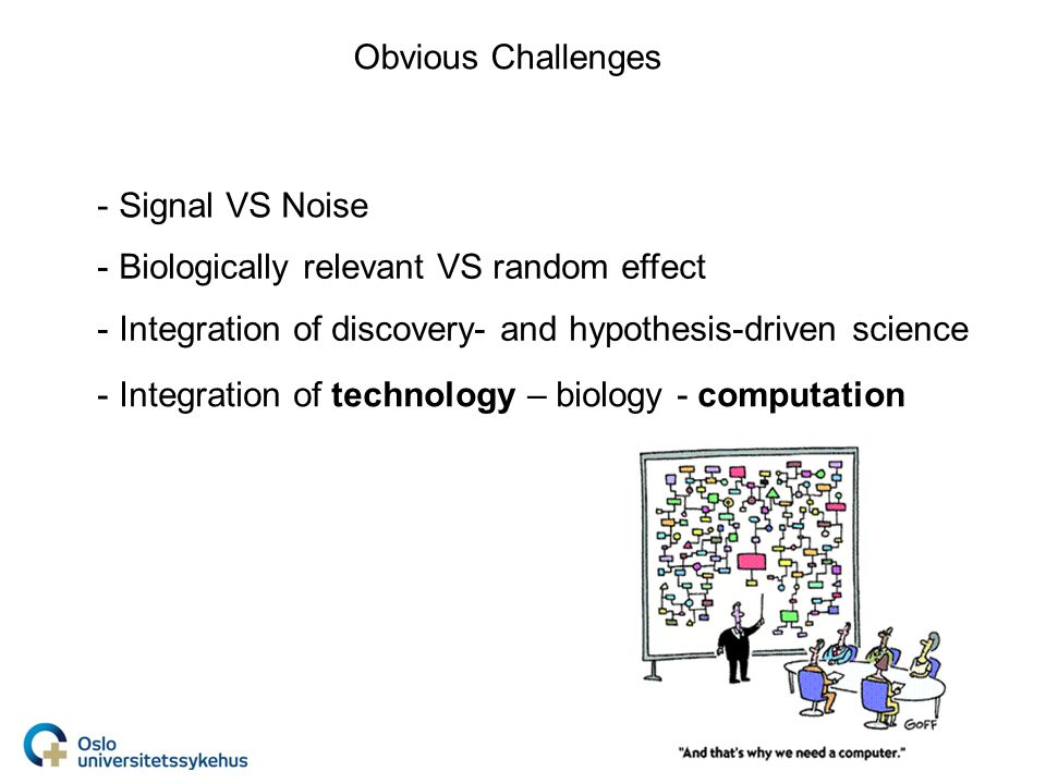 Obvious Challenges - Signal VS Noise - Biologically relevant VS random effect - Integration of technology – biology - computation - Integration of discovery- and hypothesis-driven science
