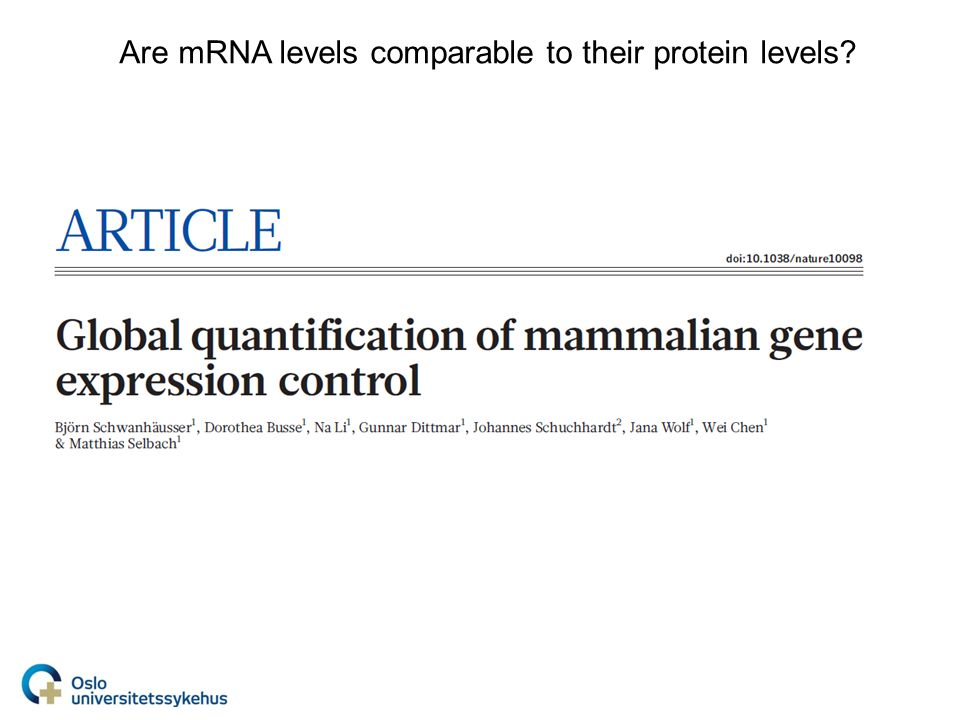 Are mRNA levels comparable to their protein levels?
