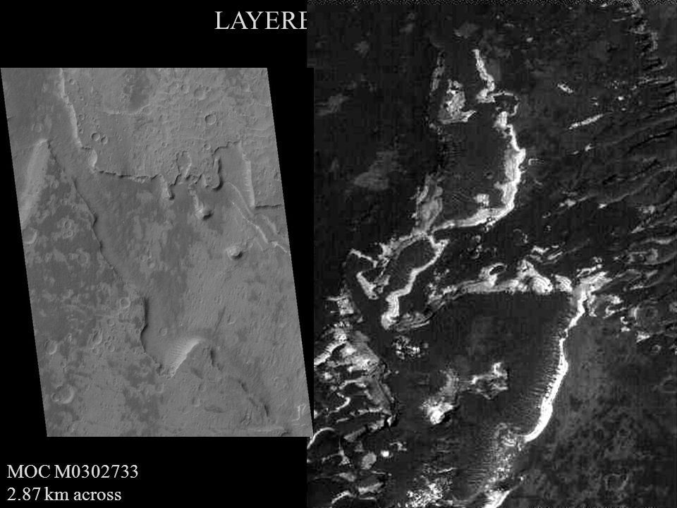 MOC E0401686 2.89 km across LAYERED DEPOSITS MOC M0302733 2.87 km across