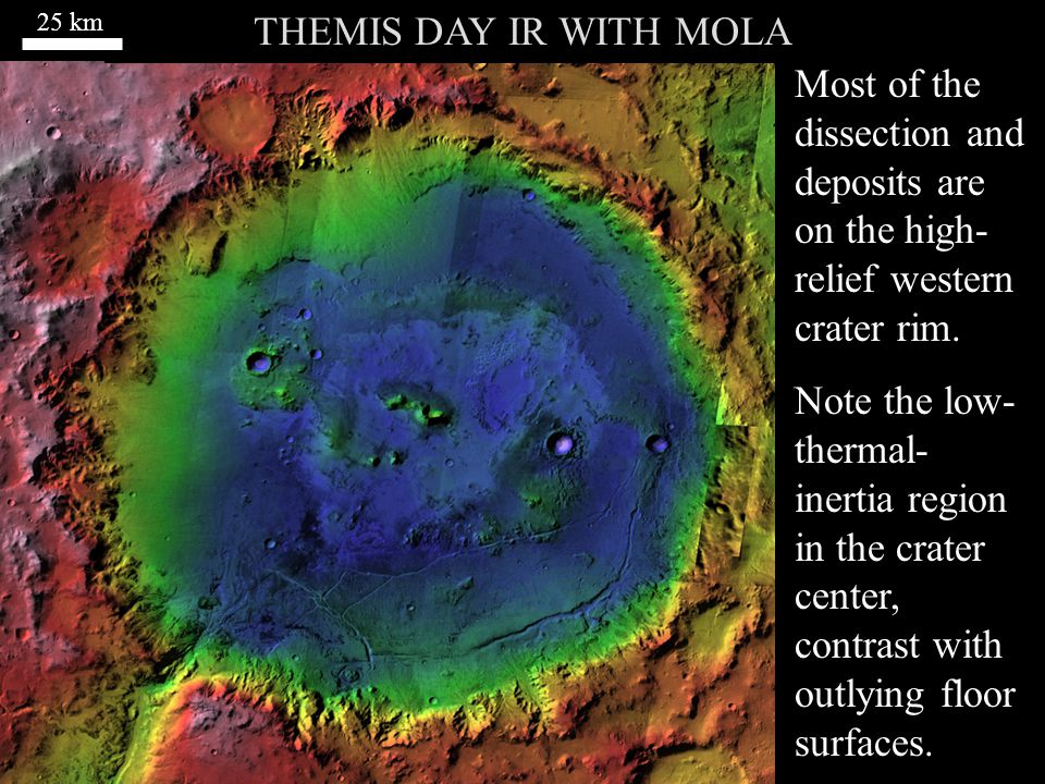 THEMIS DAY IR WITH MOLA Most of the dissection and deposits are on the high- relief western crater rim.