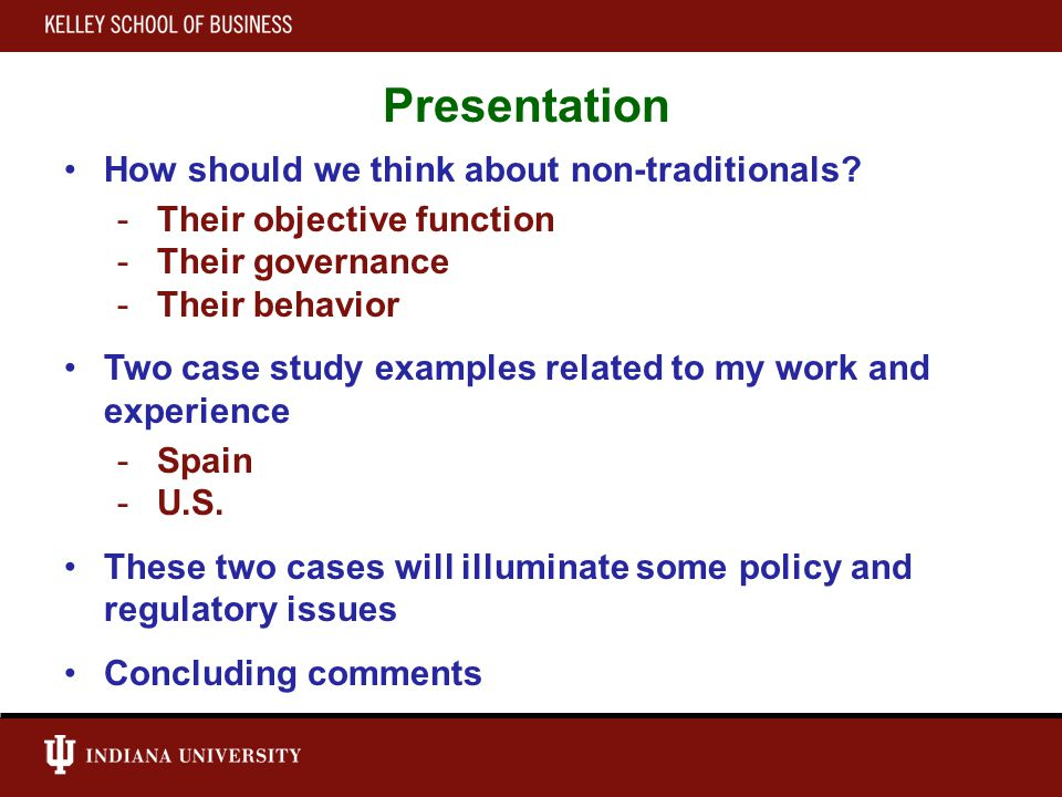 Presentation How should we think about non-traditionals.
