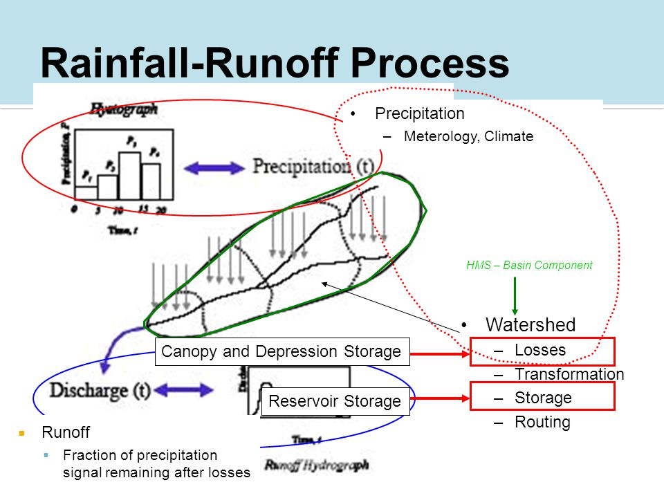 Watershed –Losses –Transformation –Storage –Routing Precipitation –Meterology, Climate  Runoff  Fraction of precipitation signal remaining after losses Canopy and Depression Storage Reservoir Storage HMS – Basin Component