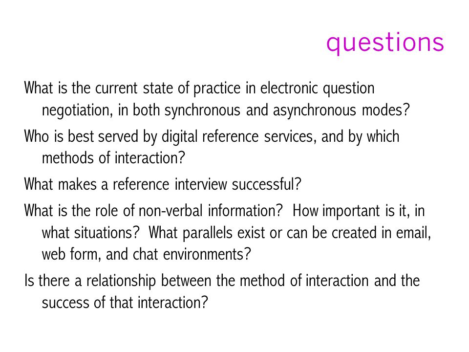questions What is the current state of practice in electronic question negotiation, in both synchronous and asynchronous modes.