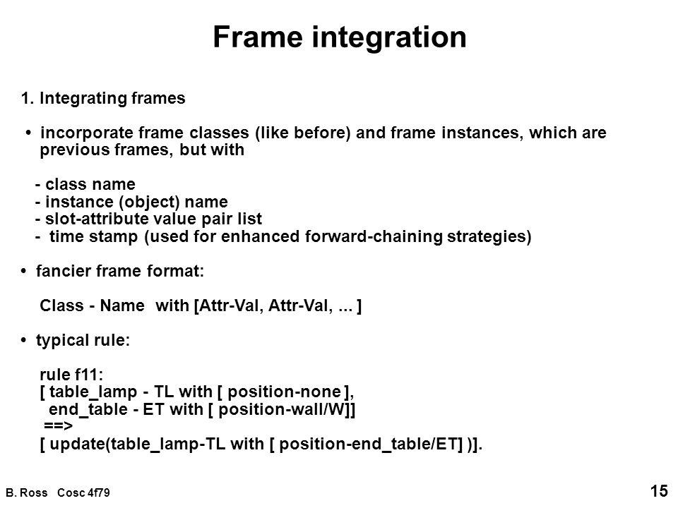 B. Ross Cosc 4f79 15 Frame integration 1.