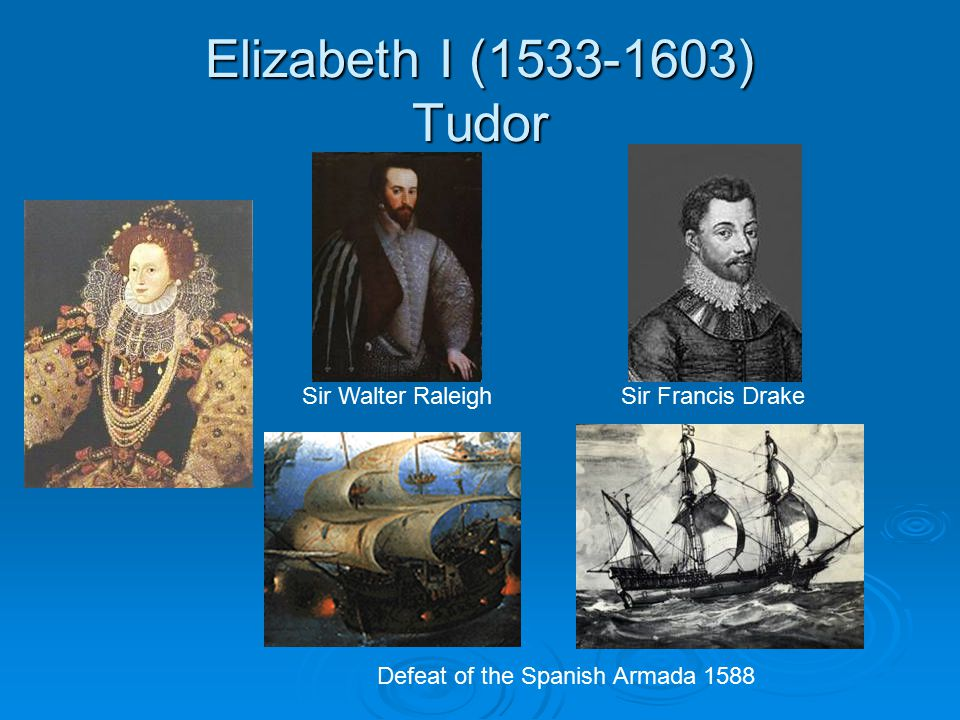 Elizabeth I (1533-1603) Tudor Sir Walter Raleigh Sir Francis Drake Defeat of the Spanish Armada 1588