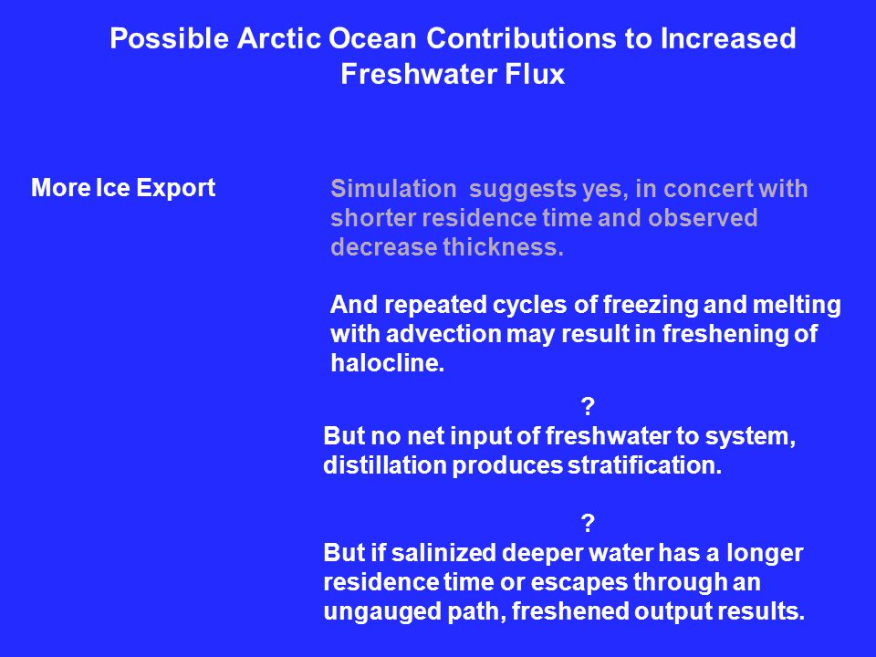 Possible Arctic Ocean Contributions to Increased Freshwater Flux More Ice Export Simulation suggests yes, in concert with shorter residence time and observed decrease thickness.