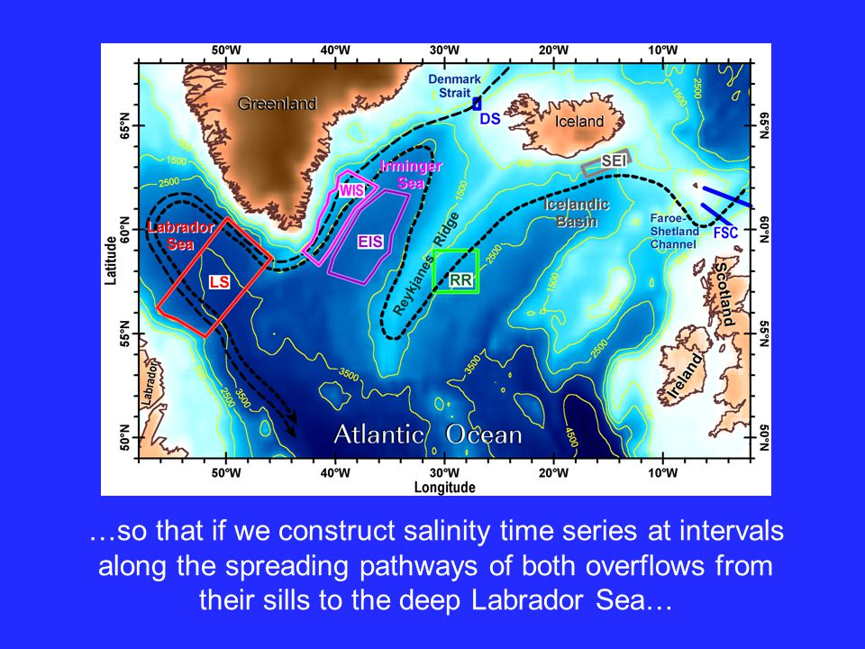 pathways …so that if we construct salinity time series at intervals along the spreading pathways of both overflows from their sills to the deep Labrador Sea…