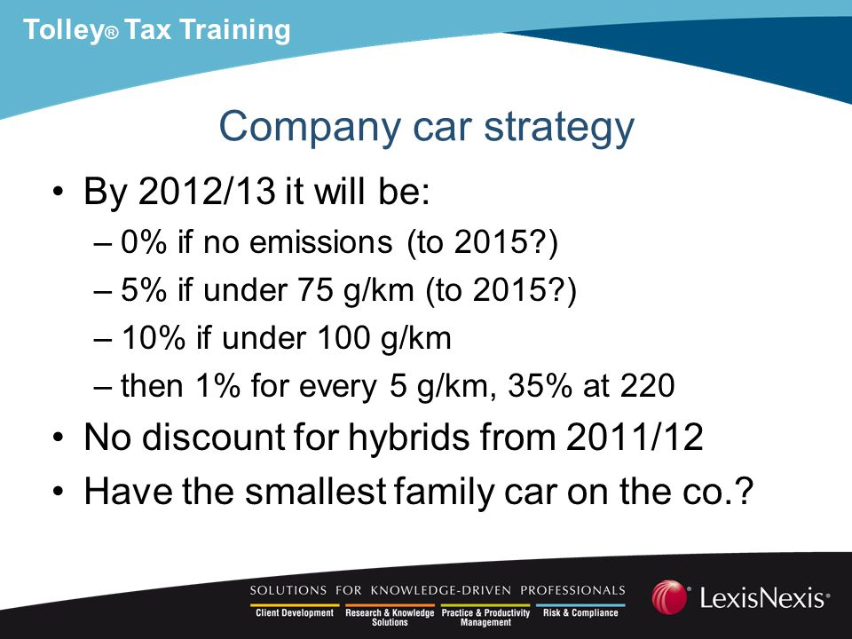 Tolley ® Tax Training Company car strategy By 2012/13 it will be: –0% if no emissions (to 2015 ) –5% if under 75 g/km (to 2015 ) –10% if under 100 g/km –then 1% for every 5 g/km, 35% at 220 No discount for hybrids from 2011/12 Have the smallest family car on the co.