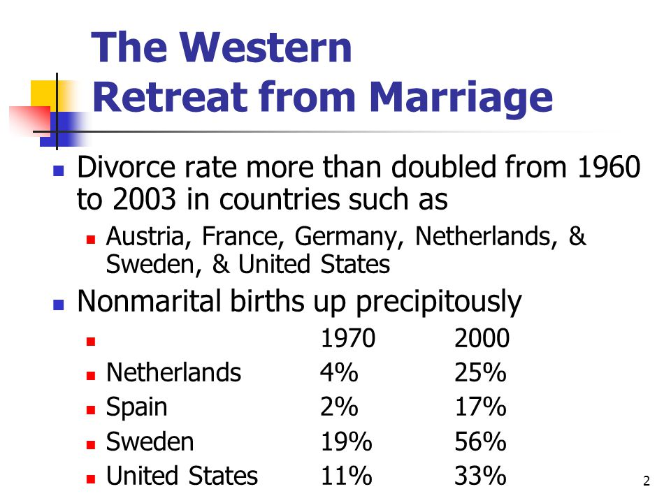2 The Western Retreat from Marriage Divorce rate more than doubled from 1960 to 2003 in countries such as Austria, France, Germany, Netherlands, & Sweden, & United States Nonmarital births up precipitously 19702000 Netherlands4%25% Spain2%17% Sweden19%56% United States11%33%
