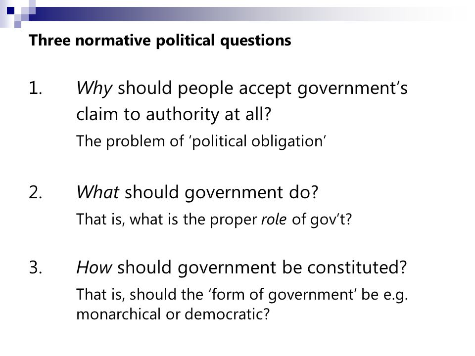 The other two normative qs can be seen as arising from this one: If (1) God has authorised political authority, (2) what should it do, and (3) how should it be exercised.