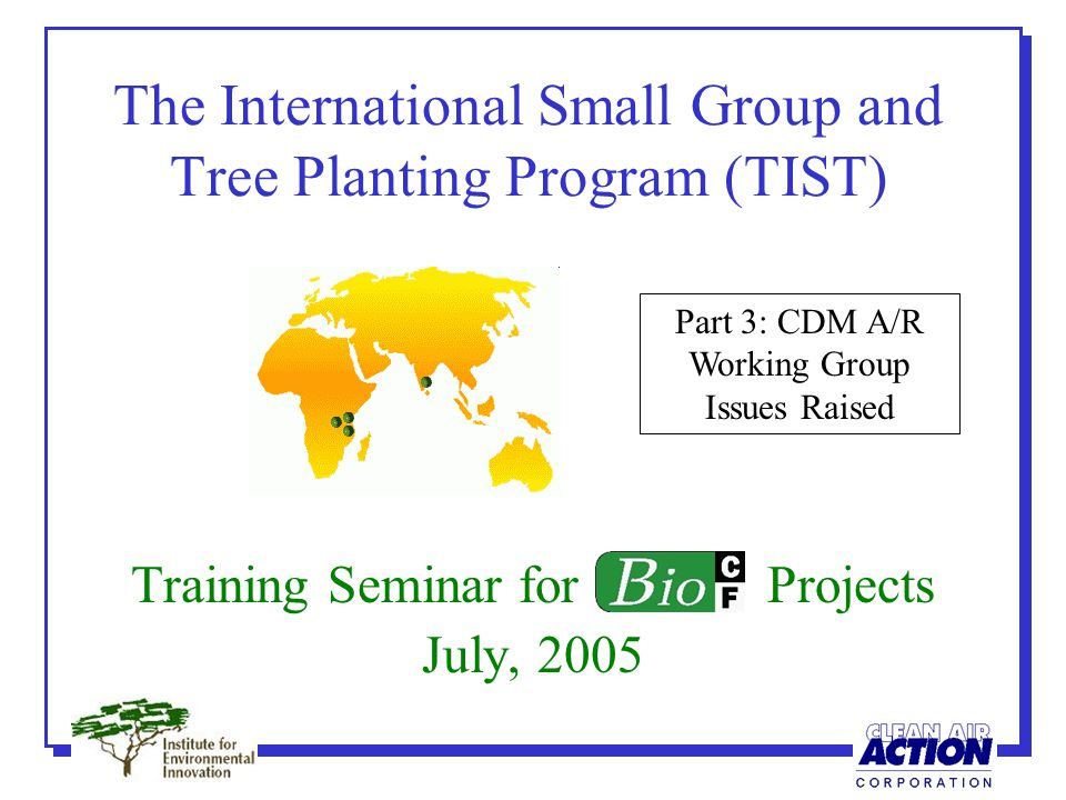 The International Small Group and Tree Planting Program (TIST) Training Seminar for Projects July, 2005 Part 3: CDM A/R Working Group Issues Raised