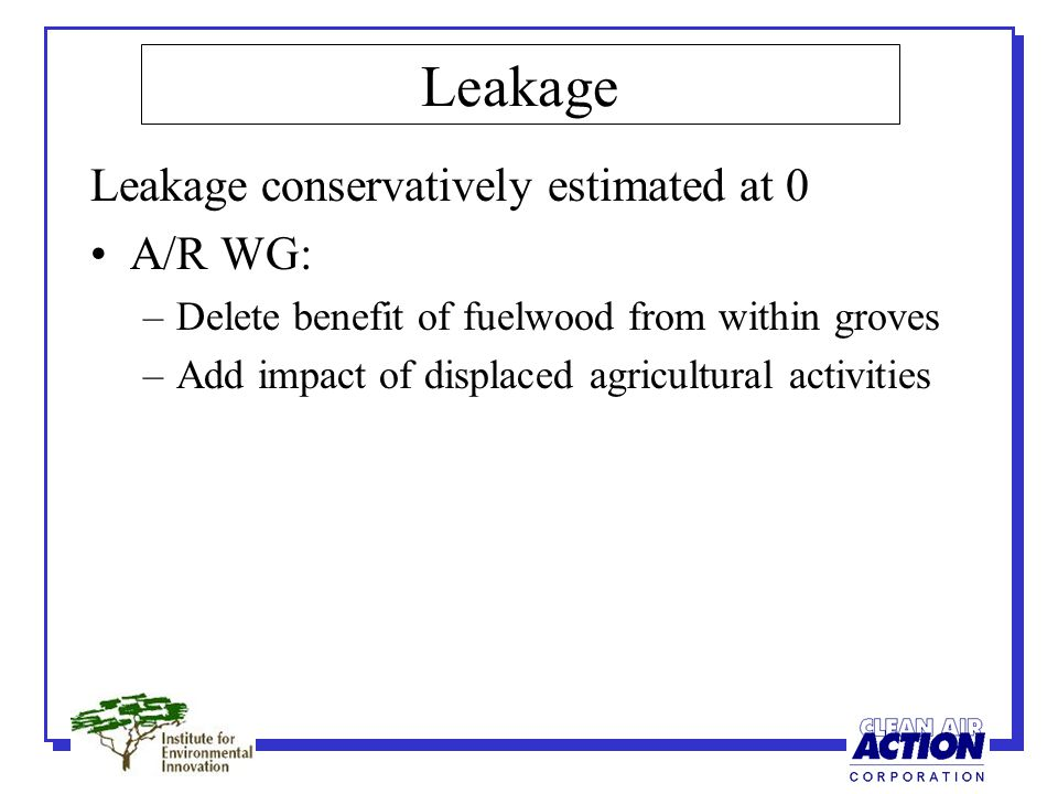 Leakage Leakage conservatively estimated at 0 A/R WG: –Delete benefit of fuelwood from within groves –Add impact of displaced agricultural activities