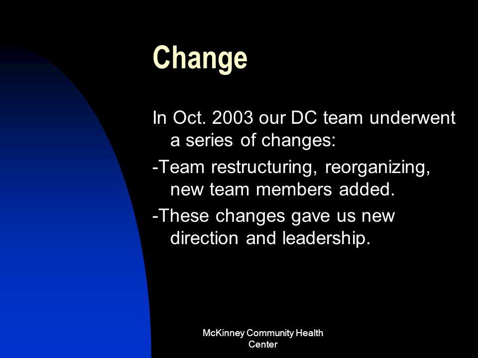McKinney Community Health Center …Case… Mr. McKinney returns to our center for the next 3 years.