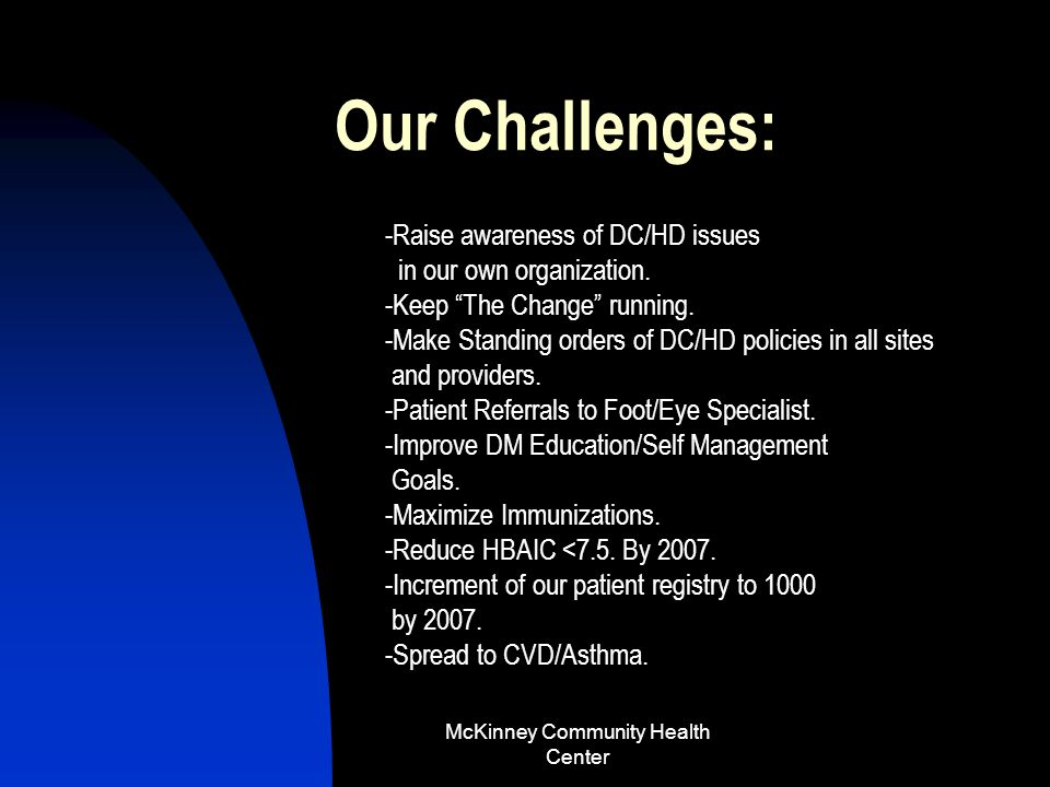 McKinney Community Health Center..change.. Our registry size has increased 334% (new patients)=375.