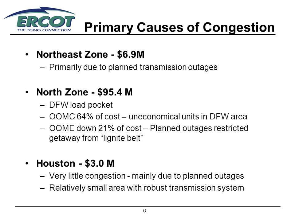 7 Primary Causes of Congestion (cont.) West - $38.4M –58% due to RMR: Exited 10/04 and 12/04 –Much of remainder due to planned outages South - $127.0 M –70% due to RMR – Uneconomical units in Corpus Christi, Rio Grande Valley and Laredo load pockets –17% due to OOME Down – Central Texas generation load pocket and planned transmission outages in area, West to East Rio Grande Valley transfer exceeded limits
