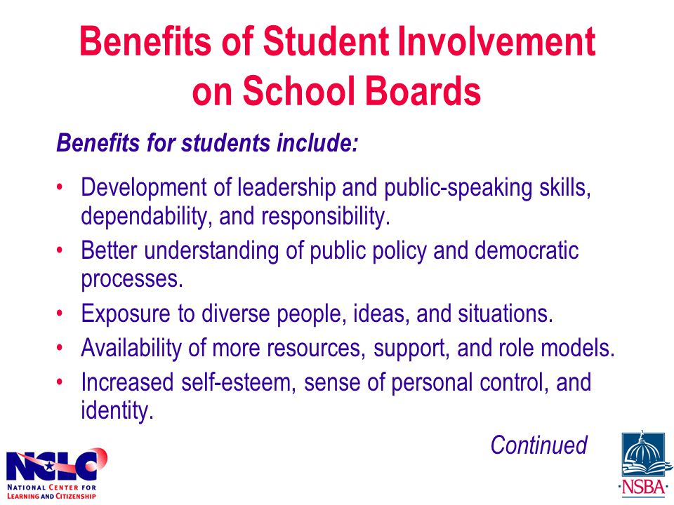 Benefits for students include: Development of leadership and public-speaking skills, dependability, and responsibility.