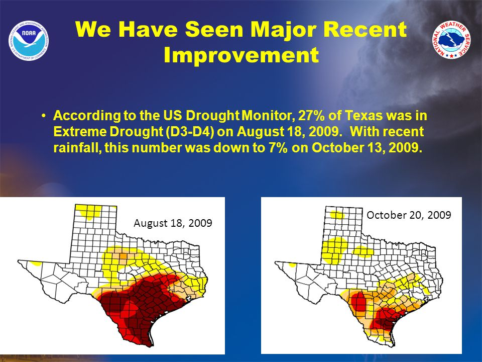 We Have Seen Major Recent Improvement According to the US Drought Monitor, 27% of Texas was in Extreme Drought (D3-D4) on August 18, 2009.