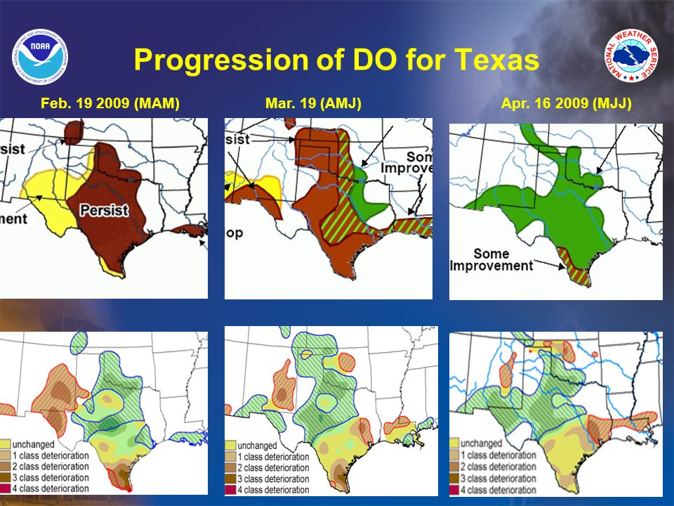 Progression of DO for Texas Feb. 19 2009 (MAM)Mar. 19 (AMJ)Apr. 16 2009 (MJJ)