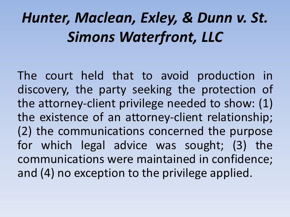 Hunter, Maclean, Exley, & Dunn v. St.