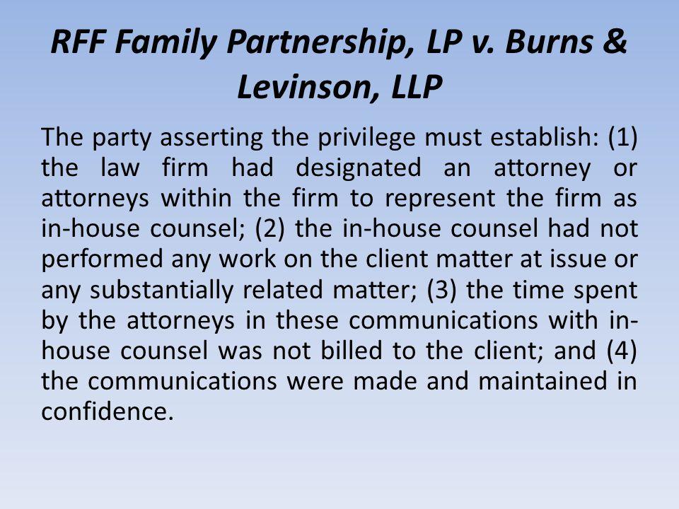 RFF Family Partnership, LP v.
