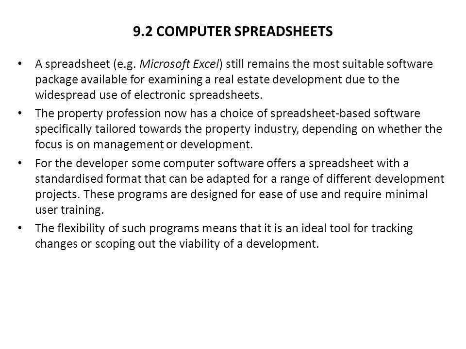 9.2 COMPUTER SPREADSHEETS A spreadsheet (e.g.