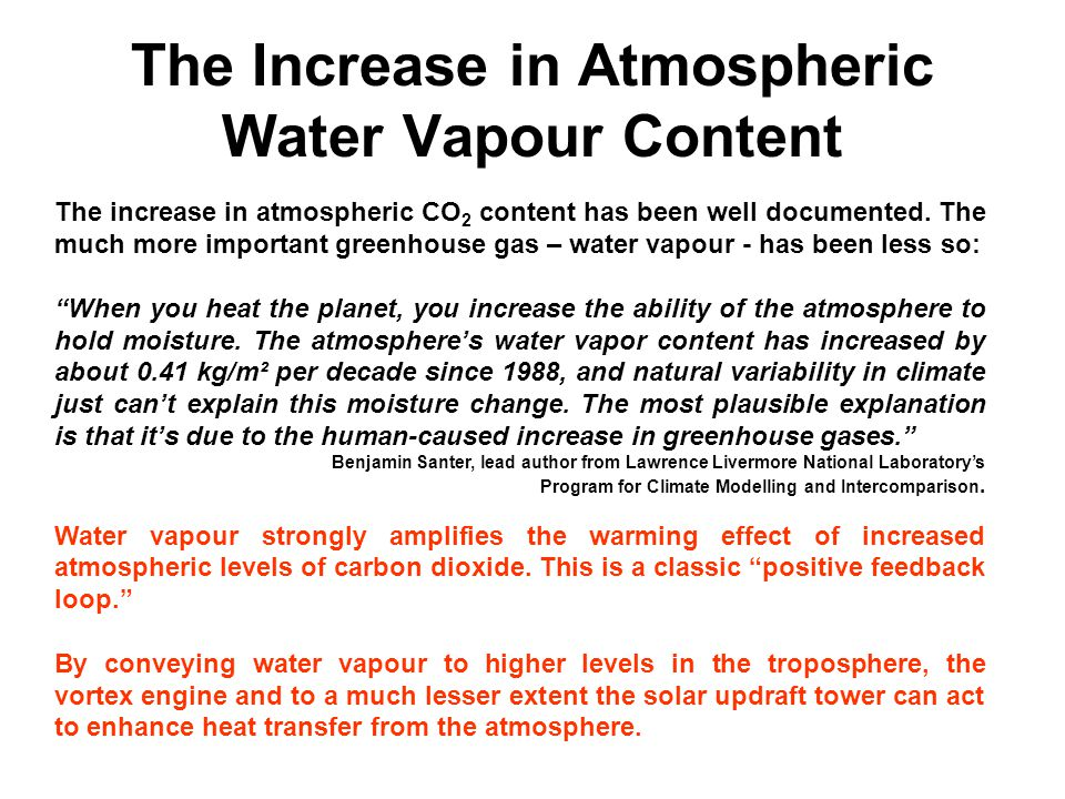 The Increase in Atmospheric Water Vapour Content The increase in atmospheric CO 2 content has been well documented. The much more important greenhouse