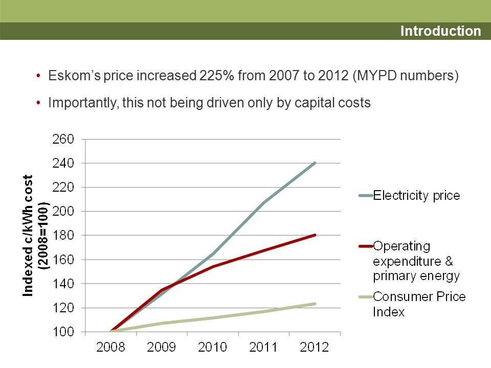 Basis for the paper and overview Some evidence internationally of long-term electricity prices tracking, or even bettering, inflation And a popular view that Eskom is currently operated inefficiently Thus the suggestion is that there are potentially unrealised efficiencies in the operation of Eskom Our paper considers the potential for Eskom to realise greater efficiencies in its operational and primary energy expenditure through changes to the regulatory framework: –First, we consider Eskom's regulatory environment and framework –Second, we broadly consider other regulatory approaches and their potential for use in regulating Eskom –Third, we consider the earnings share approach in greater detail as well as aspects around its design