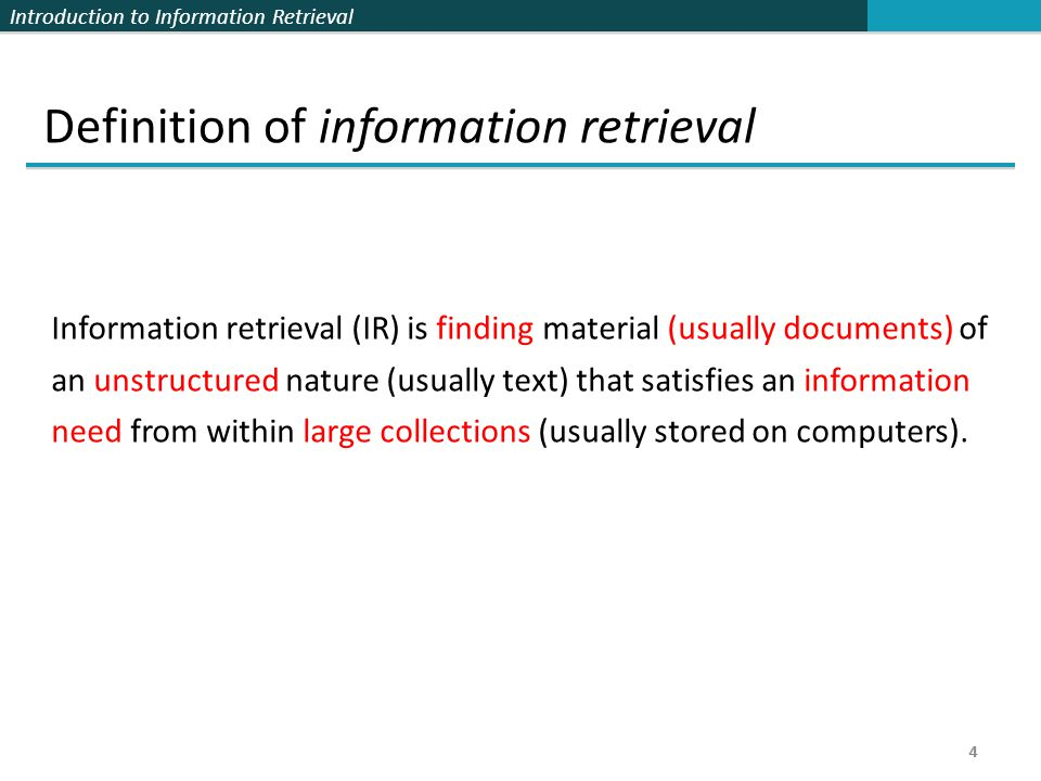 Introduction to Information Retrieval 5 5