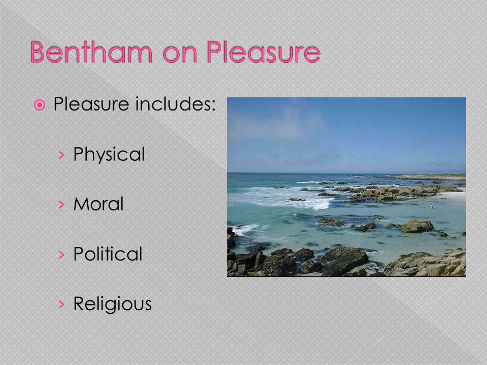 Pleasure includes: › Physical › Moral › Political › Religious