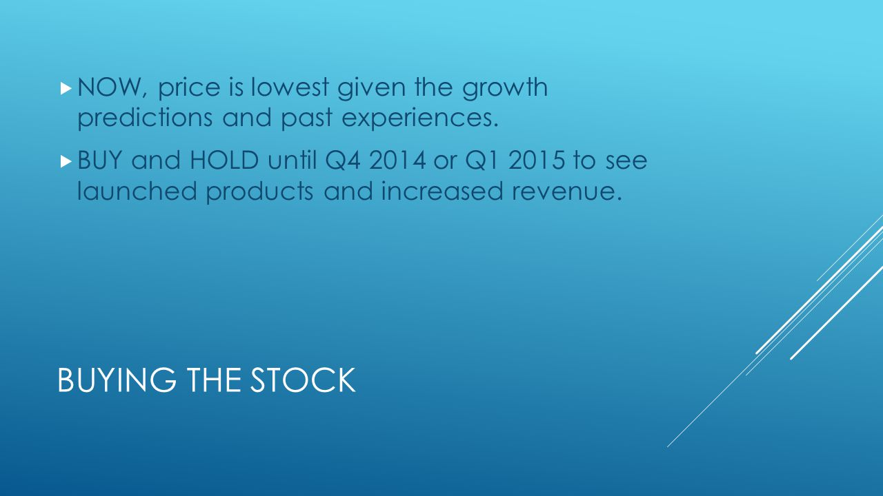 BUYING THE STOCK  NOW, price is lowest given the growth predictions and past experiences.