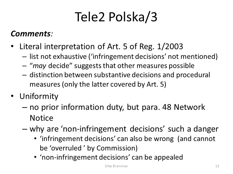 Tele2 Polska/3 Comments: Literal interpretation of Art.