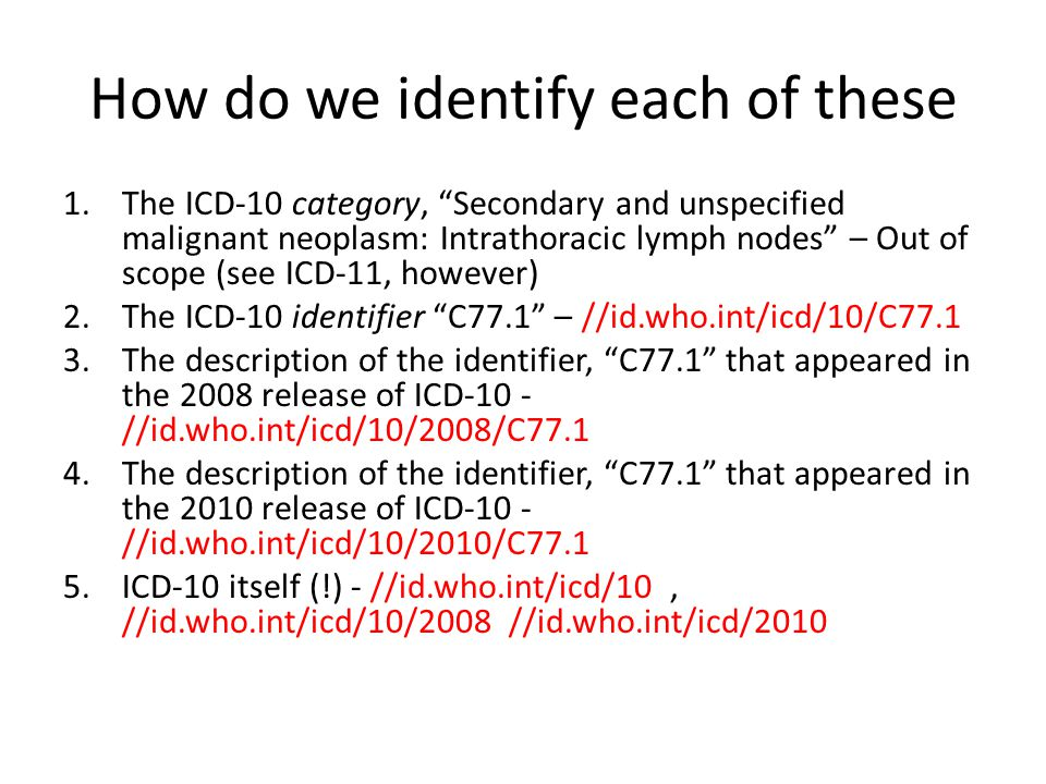 """How do we identify each of these 1.The ICD-10 category, """"Secondary and unspecified malignant neoplasm: Intrathoracic lymph nodes"""" – Out of scope (see"""
