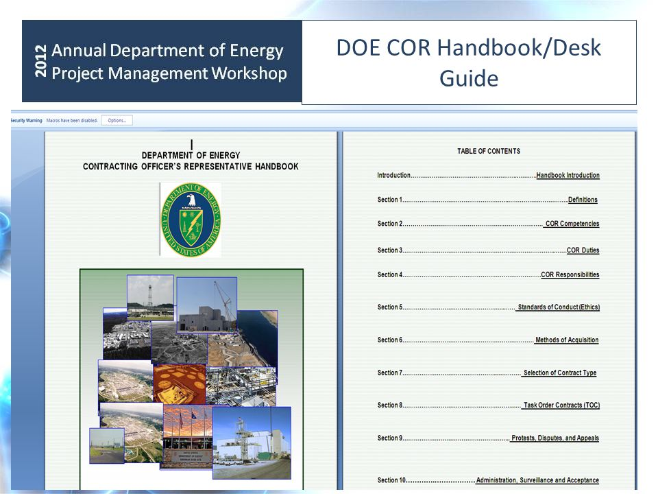 DOE COR Handbook/Desk Guide
