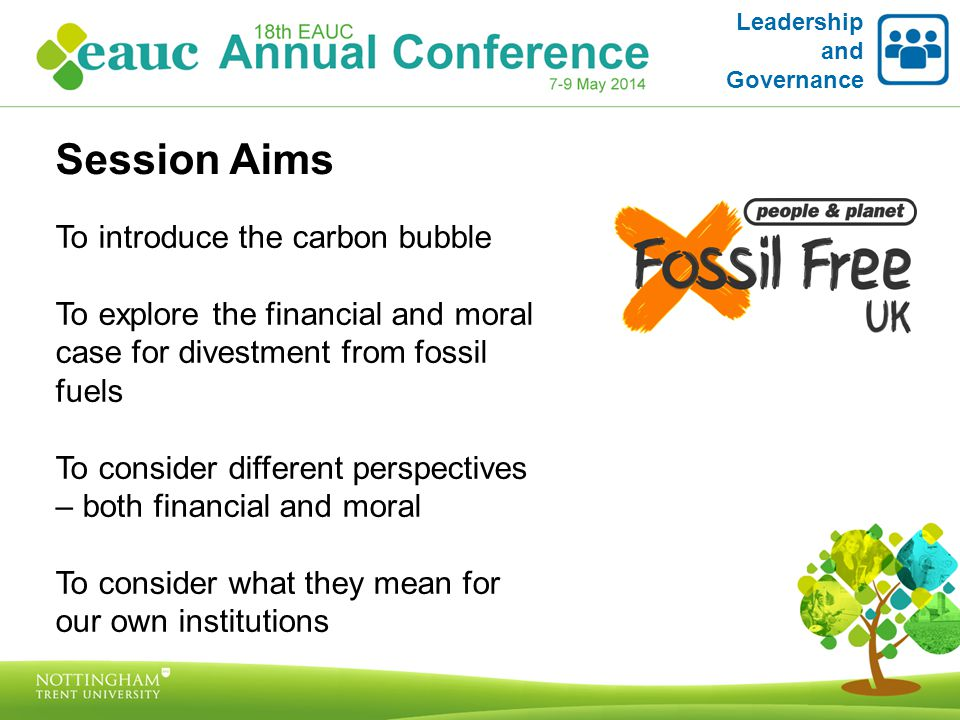 Leadership and Governance Can divestment work? Who's doing it?