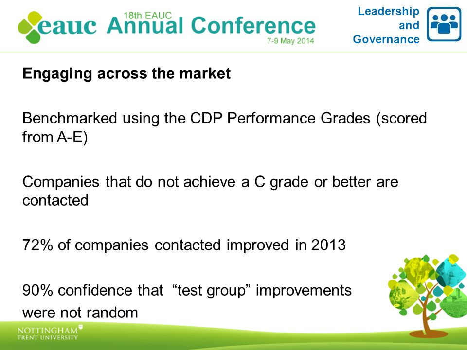 Leadership and Governance Engaging across the market Benchmarked using the CDP Performance Grades (scored from A-E) Companies that do not achieve a C grade or better are contacted 72% of companies contacted improved in 2013 90% confidence that test group improvements were not random