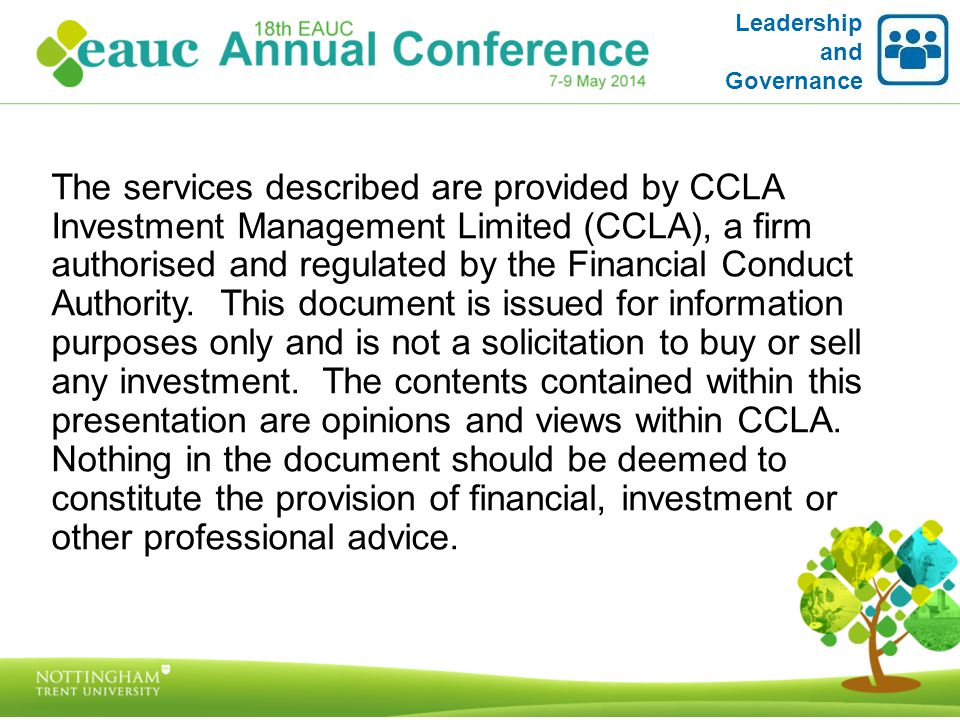 The services described are provided by CCLA Investment Management Limited (CCLA), a firm authorised and regulated by the Financial Conduct Authority.