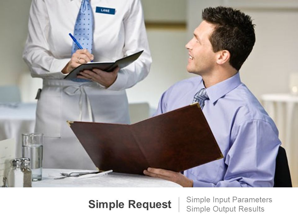 Simple Request Simple Input Parameters Simple Output Results