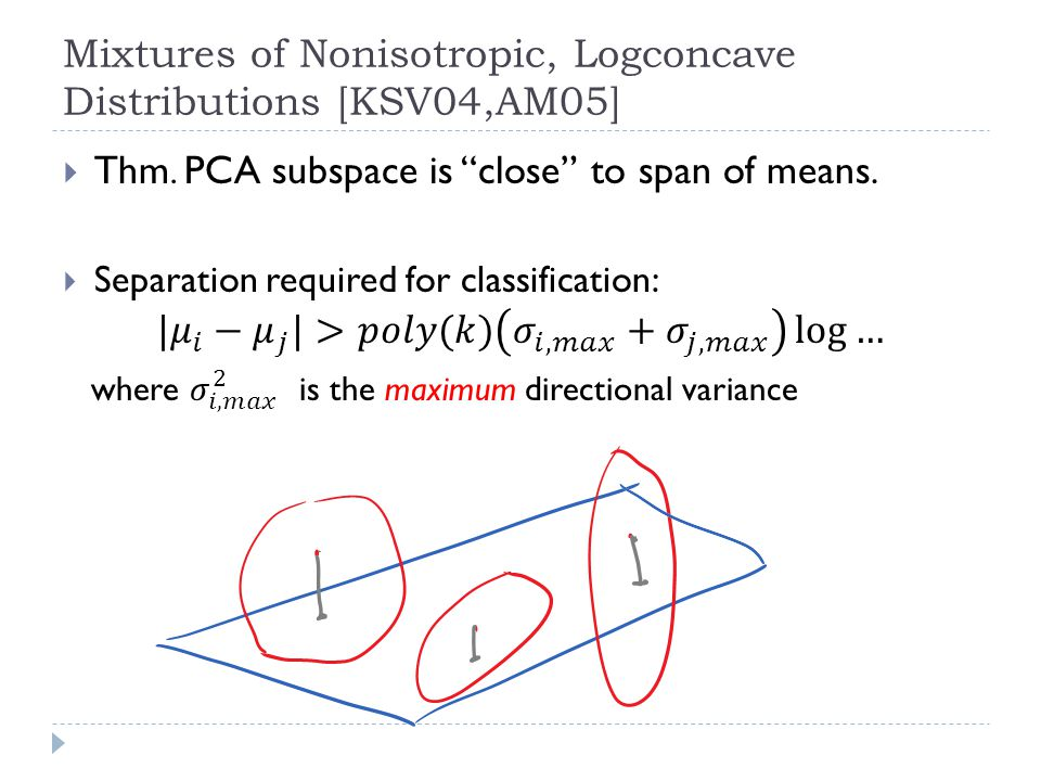 Mixtures of Nonisotropic, Logconcave Distributions [KSV04,AM05]