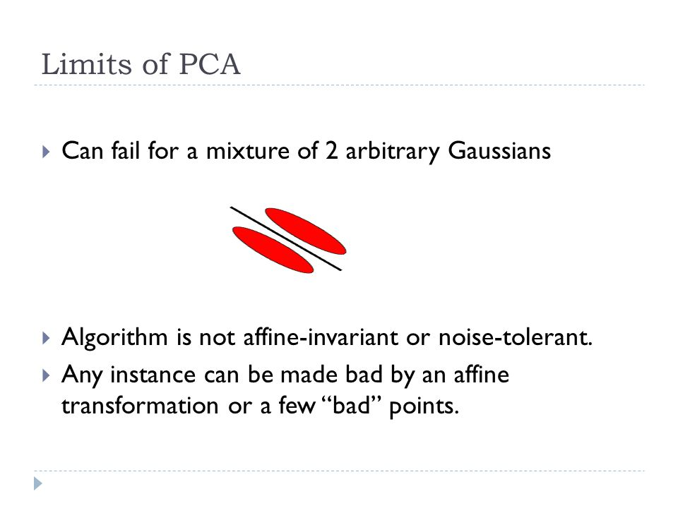 Limits of PCA  Can fail for a mixture of 2 arbitrary Gaussians  Algorithm is not affine-invariant or noise-tolerant.  Any instance can be made bad