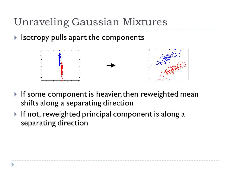 Unraveling Gaussian Mixtures  Isotropy pulls apart the components  If some component is heavier, then reweighted mean shifts along a separating direction  If not, reweighted principal component is along a separating direction