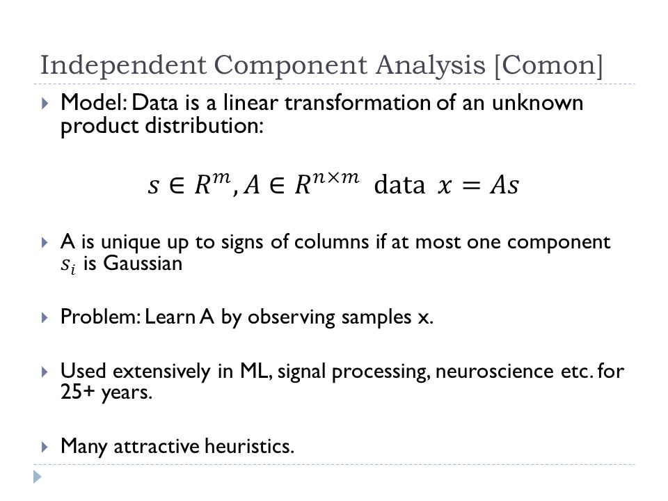 Independent Component Analysis [Comon]
