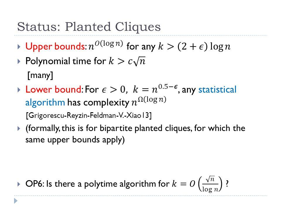 Status: Planted Cliques